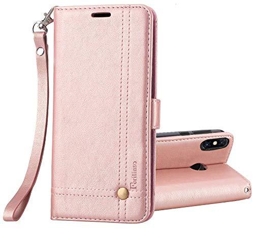 Ferlinso Funda Xiaomi Mi Mix 3, Carcasa Cuero Retro Elegante con ID Tarjeta de Crédito Tragamonedas Soporte de Flip Cover Estuche de Cierre magnético para Xiaomi Mi Mix 3 (Oro Rosa)