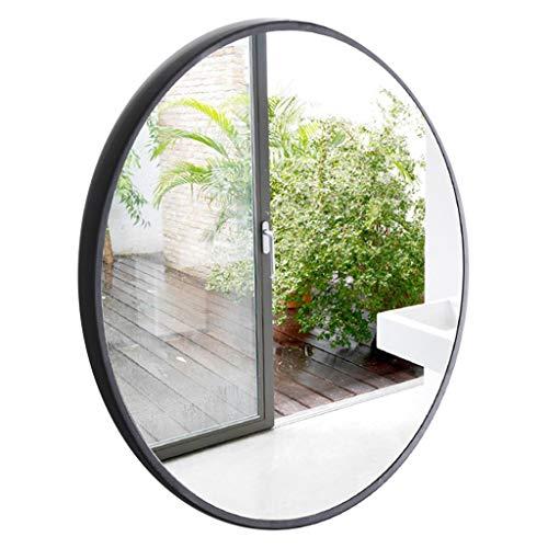 Wandspiegel für Eingangsbereiche, Badezimmer, Schlafzimmer, Metallrahmenbreite 3,5 cm Moderner runder Spiegel - Schwarz(Durchmesser 50-80 cm)
