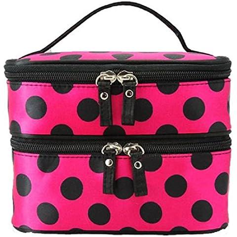 Malloom® Donna Sacchetto di Cosmetici Borsa Doppio Strato Trucco Borsetta Beauty Case (rosa caldo)