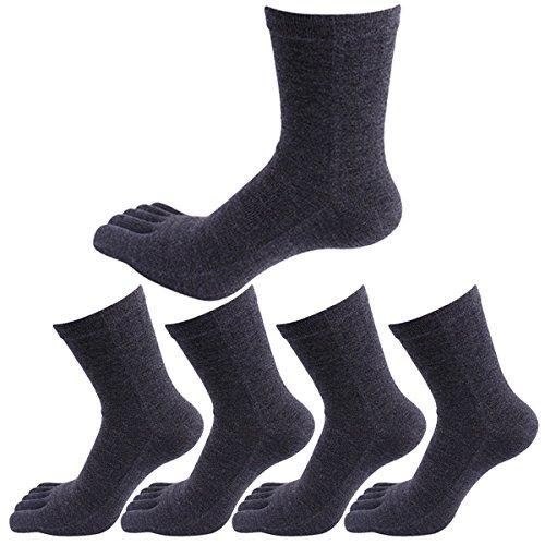 Panegy Herren 5 Paar Atmungsaktiv Zehensocken für Sports und Freizeit, geeignet für Zehenschuhe, aus Baumwolle(85%) und Spandex - Dunkelgrau
