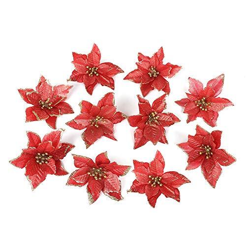 Warooma 10pz 13cm glitter artificiale, albero di natale finto tessuto fiore di simulazione della festa nuziale decorazione stella di natale ornamenti, red, 5.1 inch
