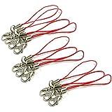 SODIAL (R) 10pcs Rojo movil cables del telefono celular correa de cordon de lazo corchete de la langosta