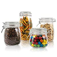 Glass Jar with Lids 4 PCS Kitchen Container Set Airtight Glass Storage Preserving Jars Masthome
