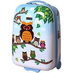 Karry Niños rígida equipaje de mano Maletín equipaje kabienent Trolley maletín infantil niño y niña LED Skater ruedas 28L Viaje Maleta Trolly 819, búho (azul) - 122607101