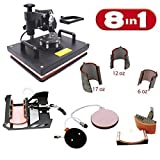 8-in-1 Kombination Digital- Hitze Presse Maschine, multifunktionale Übertragung Sublimation für T-Shirt/Becher/Becher Hut/Kappe PJ8