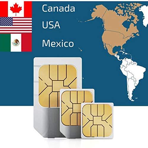 Prepaid-SIM-Karte zur Nutzung in den USA, Kanada & Mexiko 50 GB 4G/LTE-Daten, unbegrenzte Anzahl von Telefonaten & Textnachrichten, gültig für 21 Tage - Kanada Micro-sim-karte