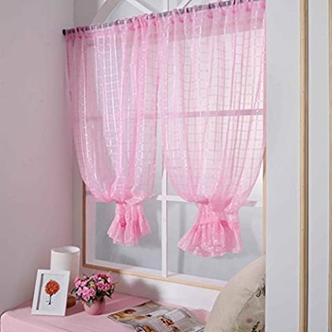 ZycShang High Quality Simple lace Lattice Solid Color Window Curtains Treatment Panels Door Drape (Pink)