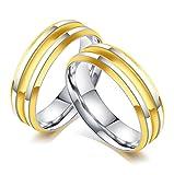 Bishilin Mode Paarepreis Edelstahl Ringe für Homosexual Hochglanzpoliert Breite 6MM Rund Verlobungsringe Paarringe Silber Gold Gr.57 (18.1)&Gr.60 (19.1)