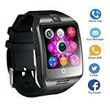 Smart Watch Telefon, TKSTAR Touchscreen Q18 Android Smartwatch Smart Geschäft Uhr Smart Watch Telefon Bluetooth Smartwatch Damen Herren Unterstützung SIM TF Karte Smartwatch (Schwarz)