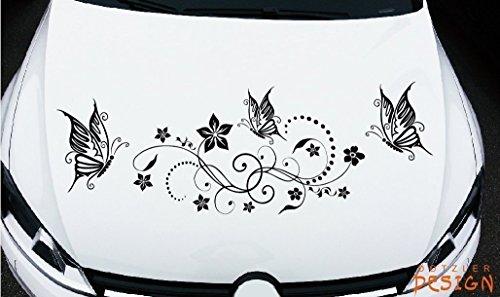 DD Dotzler Design - Autoaufkleber Tuning Motorhaube Heckscheibe oder Seite - 24082014 - Blumenranke Schmetterlinge mit Blume Blumen Ranke Kreise Punkte - 115 x 38 cm