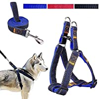 SUNKCCI 47 inches length Dog Leash Harness, Adjustable and Heavy Duty Denim Dog Leash Collar for Training Walking Running, Rescue No-Pull Strap Rope Chain for Pet (Bule)