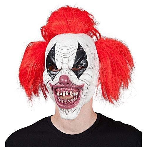 Freaky Clown Kostüm - Seemeinthat Erwachsene Unisex Gruselige Clown-Maske aus Latex, Rot