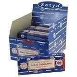 Satya - Encens Nag Champa 12 Boîtes de 10 Bâtonnets d'encens indiens avec porte-encens