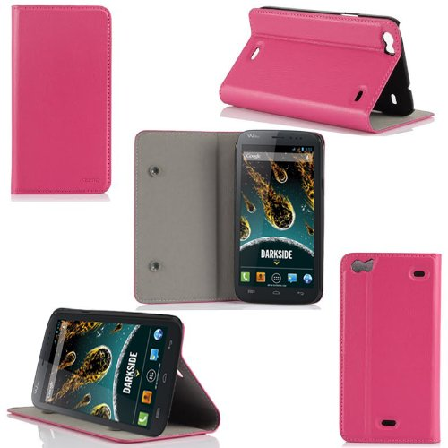 Wiko Darkside Tasche Leder Hülle Rosa Cover mit Stand - Zubehör Etui Google Wiko Darskide Flip Case Schutzhülle (PU Leder, Handytasche Rosa / Pink) - XEPTIO accessoires