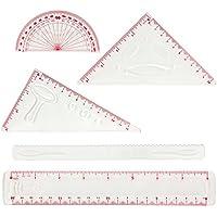 Larkpad - Juego de reglas de plástico blandas, 20 cm, 180 grados, 2 triángulos y 1 onda, 5 en 1, reglas flexibles, pulgadas y métricas, para oficina o escuela, transparente