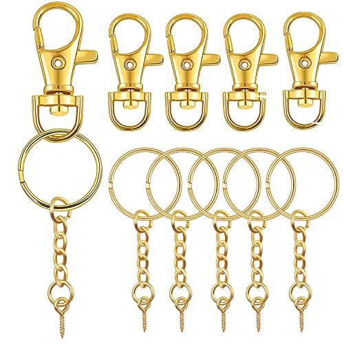 Bronagrand 50 fermagli girevoli in metallo con chiusura a moschettone e portachiavi con perni a vite da 11 mm