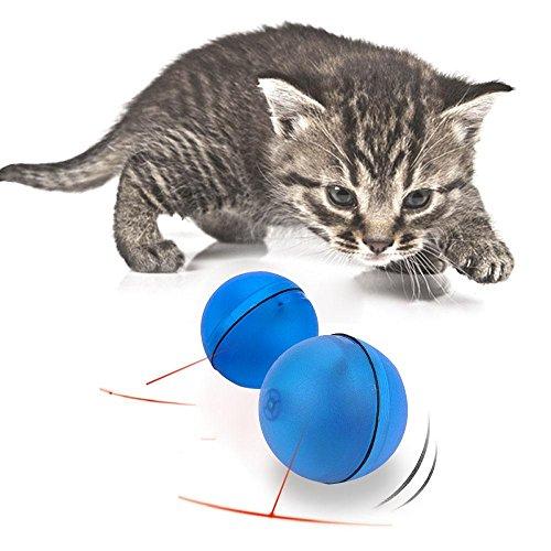 Katze Interaktives Spielzeug, AOLVO Automatisches Rotierender Ball mit LED Flash Rolling für Puppy Kitten Cat Pet Fangen und Jagen Fun blau (Licht Schalter Wand Ändern Sie)