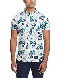 Superdry Mens Cotton Casual Shirt (5054265255601_M40MO000_Medium_Large Hibiscus Optic)