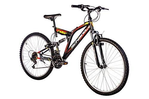 F.lli Schiano Rider Shimano Bicicleta Biamortiguada 18 V, Negro/Rojo, 26'
