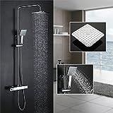 Homelody Duschsystem mit Thermostat Duscharmatur Regendusche Duschstange Brausethermostat-Duschset Duschkopf Rainshower Duschpaneel Dusche