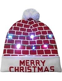 POLP Mujeres navideña Gorro navideño navideña Sombrero de Navidad Gorros de  Fiesta Accesorios para Fiestas Punto Hat Invierno Regalo Hombre… 4bb59e0e5e1