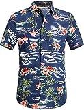 SSLR Herren Hawaiihemd Kurzarm Baumwolle Hemd Flamingos gedruckt Aloha Shirt für Strand Freizeit Reise (X-Large, Navy)