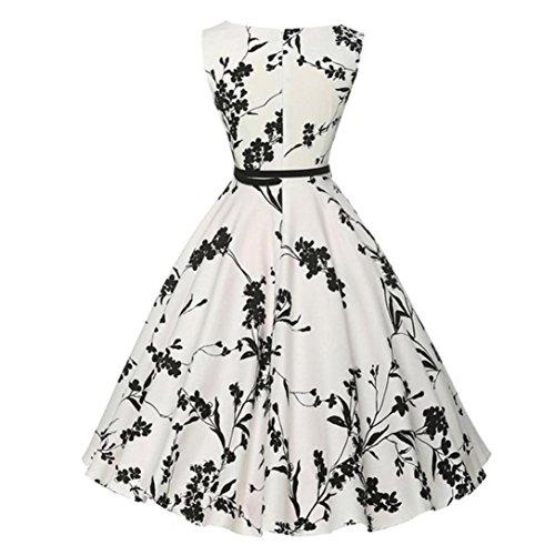 Vestido de mujer, ❤️Xinantime Vestido de fiesta de noche casual Swing Dress Vestido de bola sin mangas floral de la vendimia de las mujeres (XL, ❤️Blanco)
