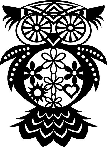 Marabu 0289000000008 - Silhouette Schablone, Ergebnisse mit Negativ - Effekt, PVC frei, wieder verwendbar, zum Sprühen und Spachteln mit Textil- und Acrylfarbe, ca. 30 x 30 cm, Flowered Owl -