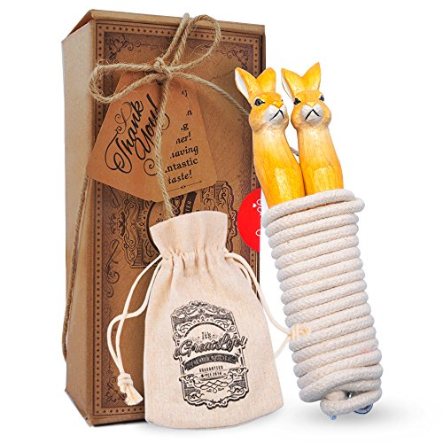 (Einstellbare Springseil für Kinder und Erwachsene: Leicht und Kabelsalat Baumwolle Springseil mit Hand Geschnitzt Kaninchen Holzgriffe-mit Anti-Rutsch und Bequemen Griff-Toll für Spiel und BewegungBES)