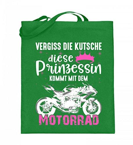 Hochwertiger Jutebeutel (mit langen Henkeln) - Motorrad Superbike Prinzessin Light Green