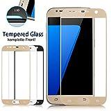 KingCase Samsung Galaxy S7 Panzerglas Full Cover ECHT GLAS Hart-Glas bedeckt das ganze Display! Farbe: WEISS Premium HD High Clear Glas 9H gehörtet Kratzfest Ultra Slim 0,26 dünn Displayschutz gerundete Kanten