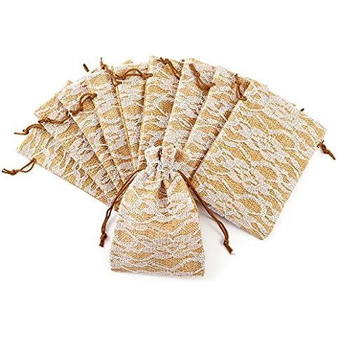 10pcs Bolsa de Organza Arpillera Bolsitas de tela de saco con encaje para regalo decorar boda bautizo
