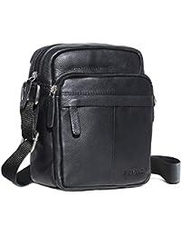 ROYALZ Bolso para Hombres de Cuero en Negro de diseño Compacto Mensajero-Bolsa