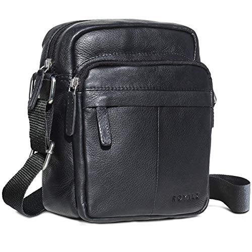 ROYALZ Umhängetasche für Herren Leder in schwarz klein kompaktes Design Ledertasche Schulter-Tasche Messenger Bag (Herren Messenger Bag Leder Schwarz)