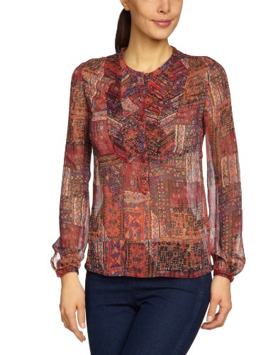 Antik Batik Damen Bluse, All over Druck ADELAI1SHT Rot (Red)