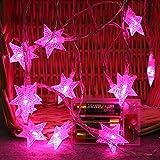 LED Lichterkette,Star Lichterkette Lichterkette Aussen 2M 10 LED Crystal Clear Sterne Fairy String Licht für Weihnachten, Hochzeit, Party, Zuhause sowie Garten, Balkon, Terrasse, Fenster, Treppe, Bar, etc Prevently (Rosa)