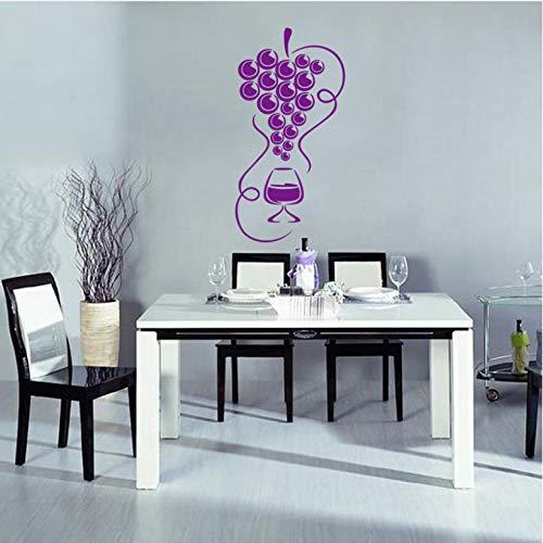 wmyzfs Sticker Gourmet Trauben und Weinglas Vinyl Wandapplikation Tapete Küche Kühlschrank Wandaufkleber Künstlerdekoration 45x85cm -