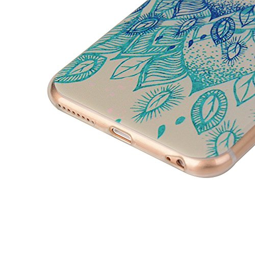 OuDu Etui en Silicone pour iPhone 6 Plus/6S Plus (5.5 pouces) Housse Souple de Protection Coque TPU Caoutchouc Etui Flexible Lisse Housse Ultra Mince Coque Poids Léger Soft Silicone Case Cas Motif Cré Lotus Bleu
