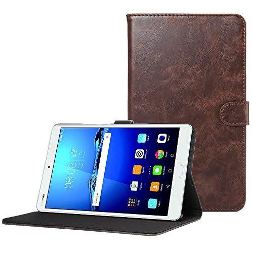 CLM-Tech Huawei MediaPad M3 8.4 Tablet Tasche im eleganten Kunstleder für Huawei MediaPad M3 8.4 (8.4 Zoll) Hülle mit Standfunktion Dunkelbraun