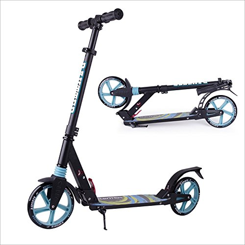 OOTOO Cityroller Tretroller Kinderscooter Faltbar aus Aluminiumlegierung für Kinder ab 8 Jahre und Erwachsene, 3 Höhe verstellbar, bis 100kg tragbar, Big Wheel Scooter Roller (S2-Blue)