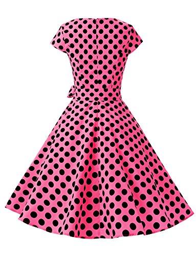 Dressystar Damen Vintage 50er Cap Sleeves Dot Einfarbig Rockabilly Swing Kleider Fuchsie Schwarz Dot B