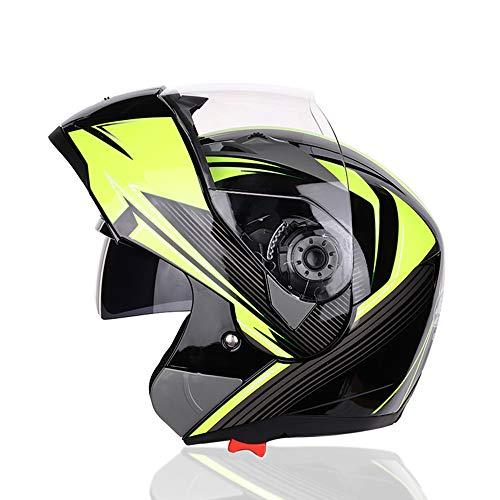 MQL Motorrad Reithelm Herren Doppelscheibe Erwachsener Offroad Anti-Fog Belüftung Enthüllt Vier Jahreszeiten Helm Eine Vielzahl von Stilen zur Auswahl,C,XXL