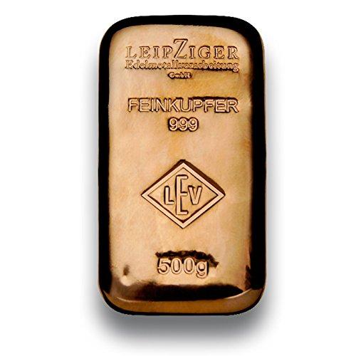 Kupferbarren - 500g - Feinkupfer 999.9 - gegossener Kupferbarren - Geschenkidee -