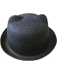 Moollyfox Sombrero de Playa Gorra Paja Verano Oreja De Gato Para Niño Niña  Negro 40a10a48481