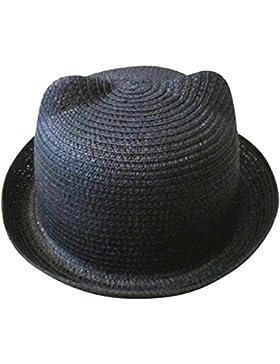 Moollyfox Sombrero de Playa Gorra Paja Verano Oreja De Gato Para Niño Niña Negro