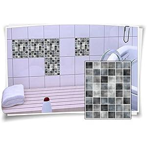Medianlux Fliesenaufkleber Fliesenbild Fliesen Fliesenimitat Aufkleber Mosaik Grau, 8 Stück, 20x25cm