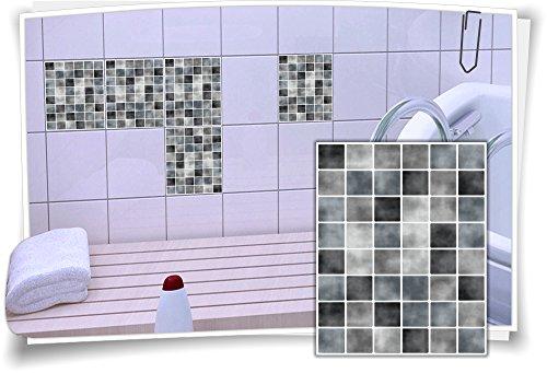 12 X 12 Mosaik (Medianlux Fliesenaufkleber Fliesenbild Fliesen Fliesenimitat Aufkleber Mosaik Grau, 12 Stück, 20x25cm)