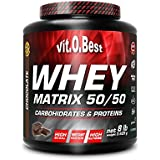 Vit-O-Best Whey Matrix 50/50 Proteínas, Sabor a Chocolate - 3600 gr