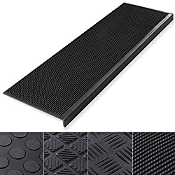 etm Anti Slip Stair Tread - Rubber Mats | 0.8cm Thick | Outdoor 100% Weatherproof | Superb Grip | Set of 5 - Santiago (25 x 75 cm)