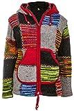 Bunte Patchwork Jacke | Herren | Nepal Jacke mit Patches | Wolljacke | Warmes Fleece Innenfutter
